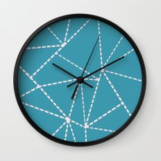 Ab Dotted Lines Pink on Blue Wall Clock