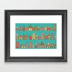 City {Housylands - teal} Framed Art Print