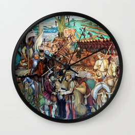 Mural of exploitation of Mexico by Spanish conquistadors by Diego Rivera Wall Clock