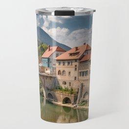 World Popular Ancient Capuchin Bridge Škofja Loka Slovenia Europe Ultra High Resolution Travel Mug