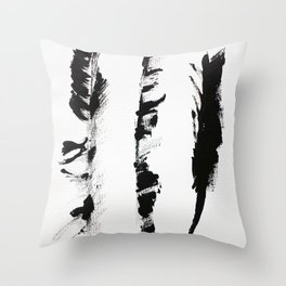 Black & white three abstract feathers illustration Throw Pillow