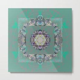 Heart Source Meditation Luminescent Green Boho Mandala Metal Print