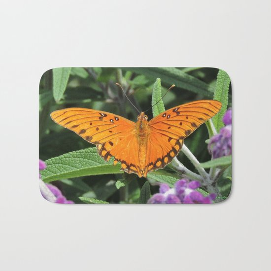 A Gulf Fritillary Shows Wear and Tear Bath Mat