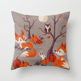 Fall Foxes Throw Pillow