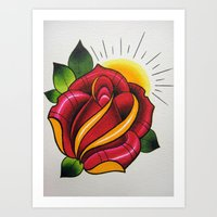 Traditional Red Rose Art Print