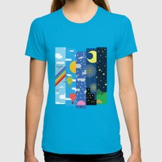 Skies Teal LARGE Womens Fitted Tee