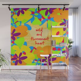 Wild and fluorescent heart Wall Mural