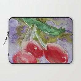 Red Cherries on Purple watercolor by CheyAnne Sexton Laptop Sleeve