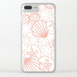 Coral pink seashells on white Clear iPhone Case