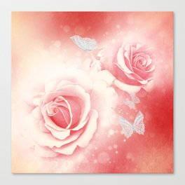 Wonderful roses with butterflies Canvas Print