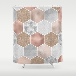 Gentle rose gold and marble hexagons Shower Curtain