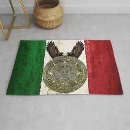 MEXICAN EAGLE AZTEC CALENDAR FLAG Rug