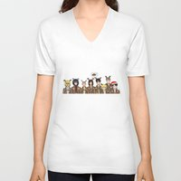 levi V-neck T-shirts featuring Christmas with Squad Levi 2.0 by PaigeAWArt