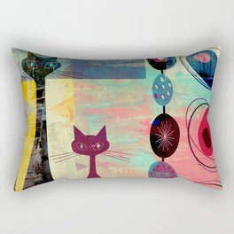 MidMod 2 Cats Graffiti Rectangular Pillow