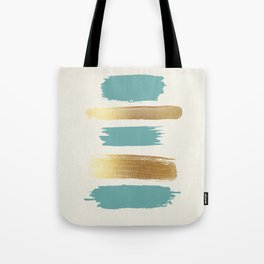 Brush Strokes (Teal/Gold) Tote Bag