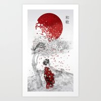 poem Art Prints featuring Japanese Poem by Marine Loup