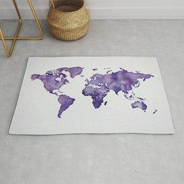 Purple World Map 01 Rug