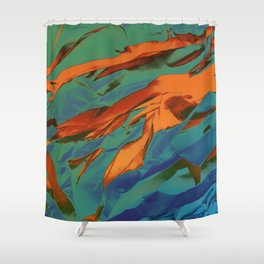 Green, Orange and Blue Abstract Shower Curtain