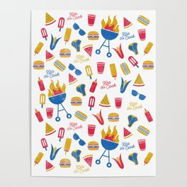 Summer BBQ Pattern - Blue Red Yellow Poster