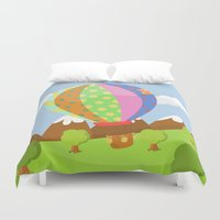 baloon Duvet Covers featuring BALOON (AERIAL VEHICLES) by Alapapaju