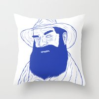 cowboy Throw Pillows featuring Cowboy  by David Penela