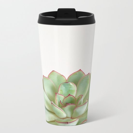 Green Succulent Metal Travel Mug
