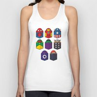 pocket Tank Tops featuring World's mightiest pocket heroes by Steven Toang