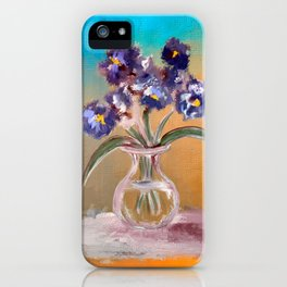 Purple And Blue Pansies In Glass Vase iPhone Case