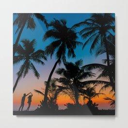 Palm Trees Sunset Metal Print
