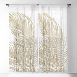 Palm Leaves Finesse Line Art with Gold Foil #2 #minimal #decor #art #society6 Sheer Curtain