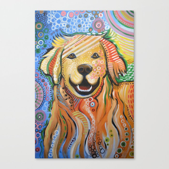 Max Abstract Dog Art Golden Retriever Original Animal Painting Canvas Print By Amygiacomelli