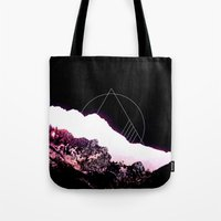 snowboarding Tote Bags featuring Mountain Ride by Schwebewesen • Romina Lutz