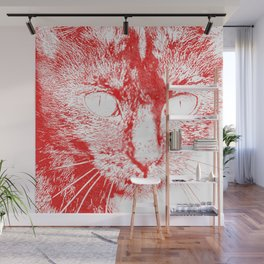 Fluffy's eyes drawing, red Wall Mural