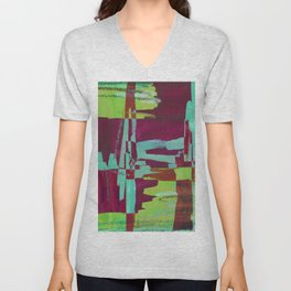 Raspberry Jam - Textured, abstract, raspberry, cyan and green painting Unisex V-Neck