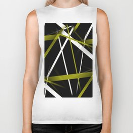 Seamless Olive Green and White Stripes on A Black Background Biker Tank