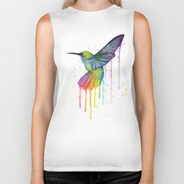 Hummingbird Rainbow Watercolor Biker Tank