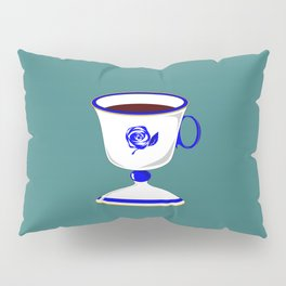 Cup of Coffee in Blue Flow Vintage China Pillow Sham
