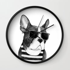 Frenchie Summer Style b&w Wall Clock