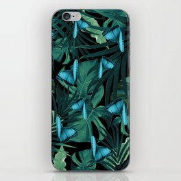 Tropical Butterfly Jungle Night Leaves Pattern #5 #tropical #decor #art #society6 iPhone Skin