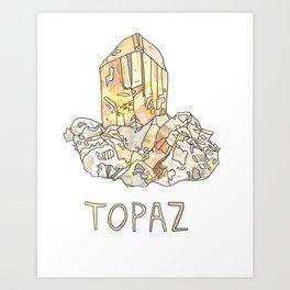 Topaz Gemstone / November Birthstone Watercolor Painting / Illustration Art Print