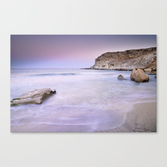 Pink sunset at the volcanic beach Canvas Print