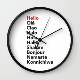 Hello in 10 Different Languages Wall Clock