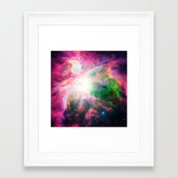 nebula Framed Art Prints featuring Orion NebuLA Colorful Purple by 2sweet4words Designs