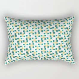 Large Turquoise Boxes and Gold Lines Rectangular Pillow