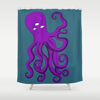 occult Shower Curtains featuring Occult Octopus by mystmoon