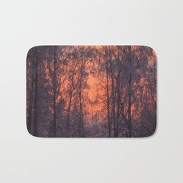 Winter Scene - Frosty Trees Against The Sunset #decor #society6 #homedecor Bath Mat