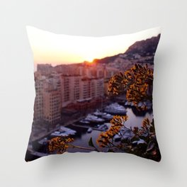 Sunset over Monaco Throw Pillow
