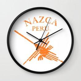 Orange Nazca Lines Hummingbird Distressed Wall Clock