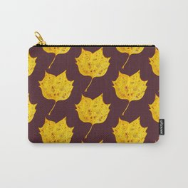 Fancy Watercolor Yellow Autumn Leaf Carry-All Pouch