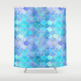 Aqua Pearlescent & Gold Mermaid Scale Pattern Shower Curtain